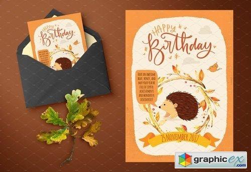 Autumn inspired kids birthday cards