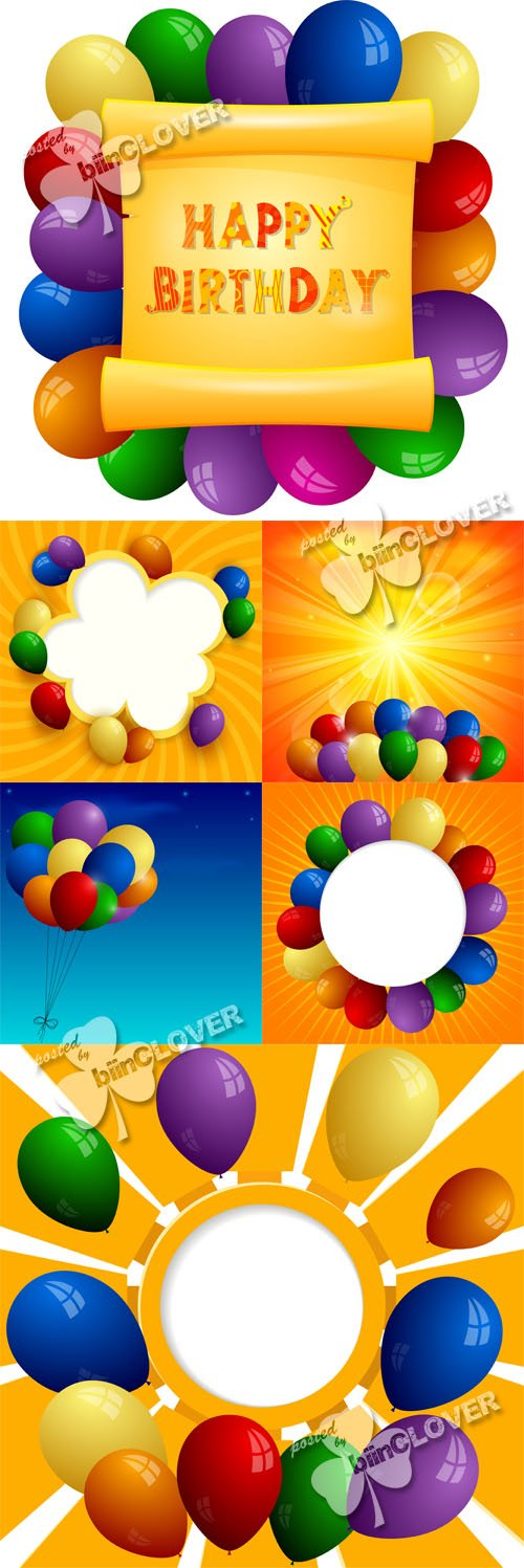 Vector Cards with colored balloons