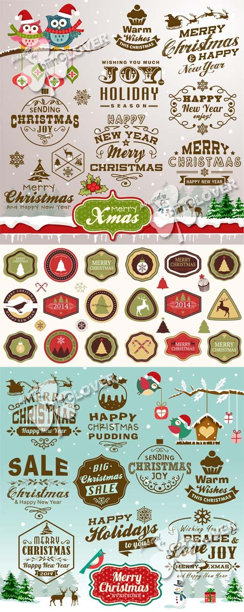 Vector Christmas design elements and labels
