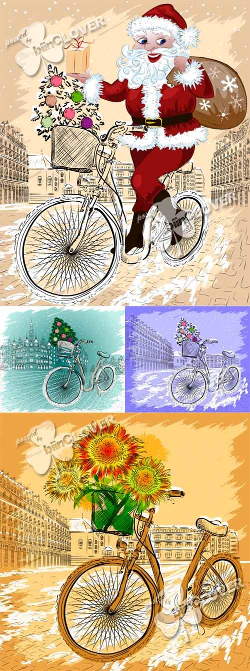 Vector Christmas postcard with bicycle