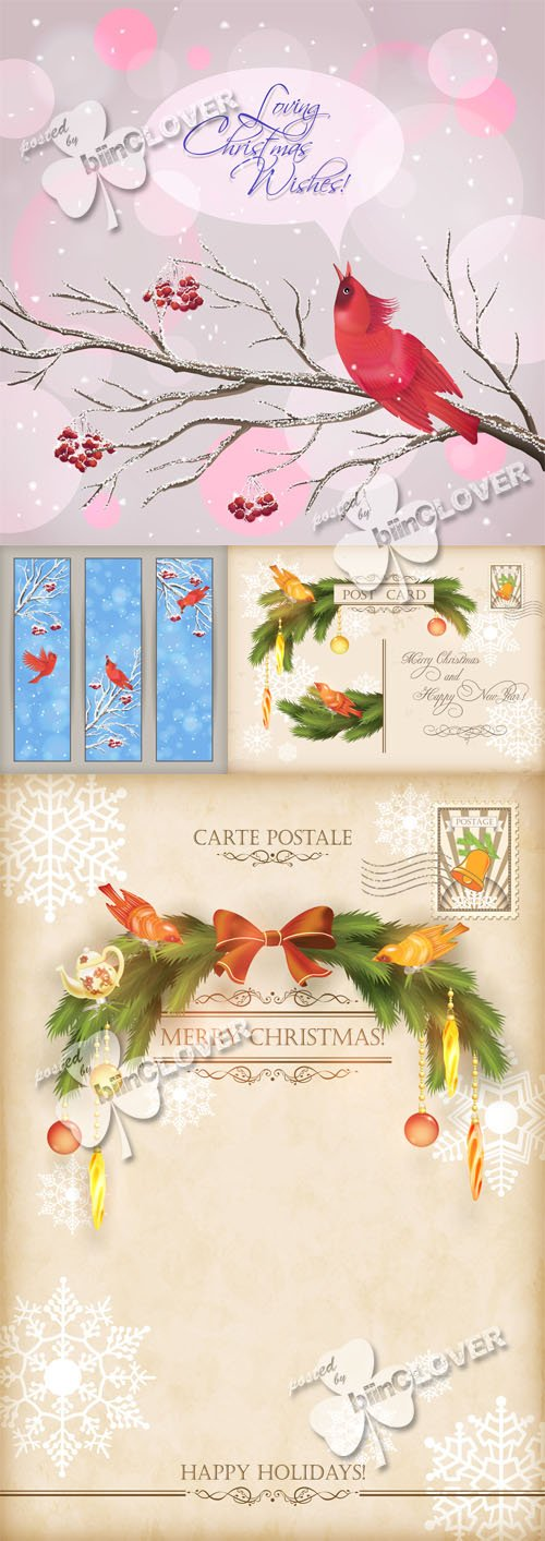 Vector Christmas vintage cards