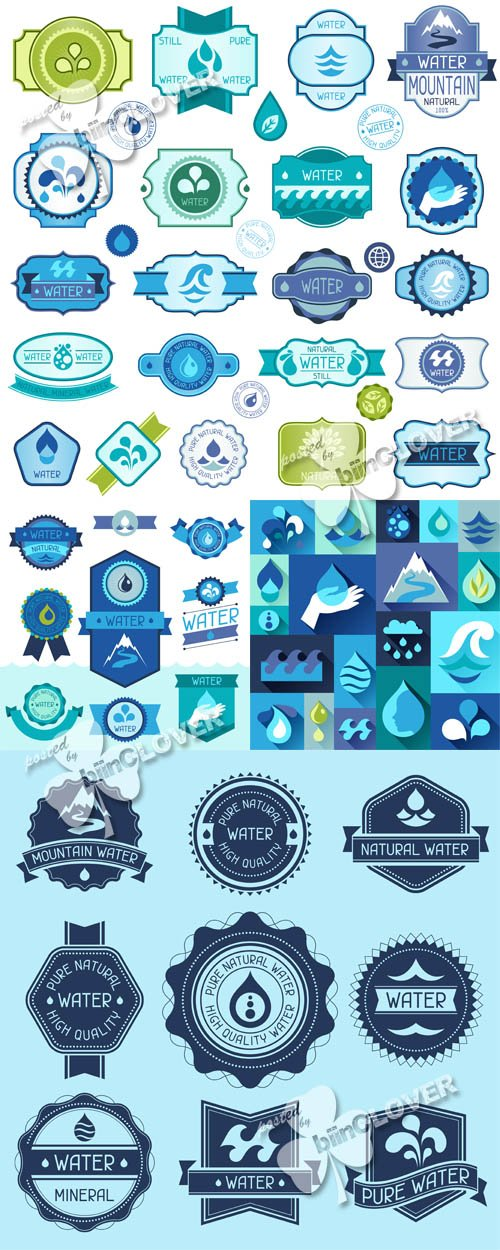 Water labels, badges and stickers