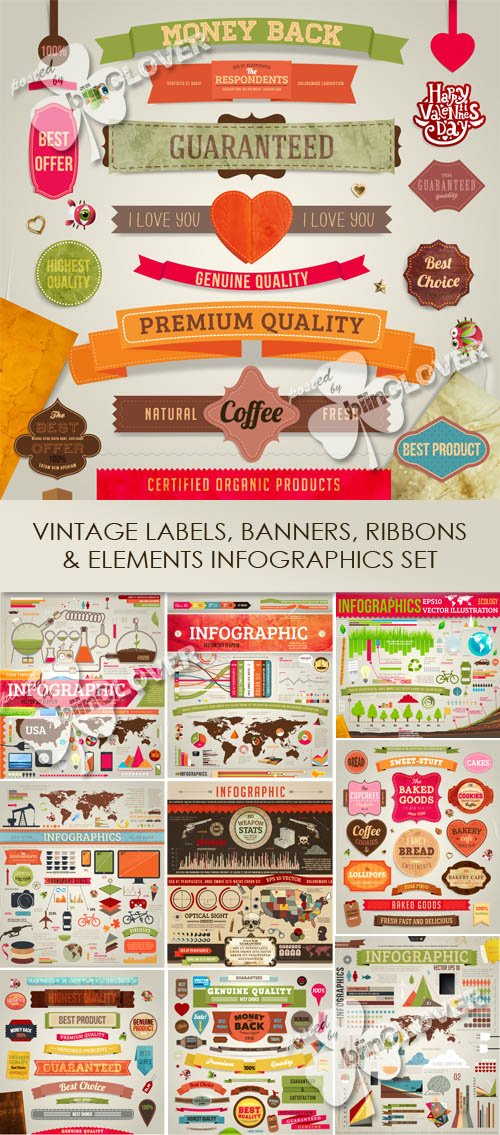Vector Vintage labels, banners, ribbons and elements infographics