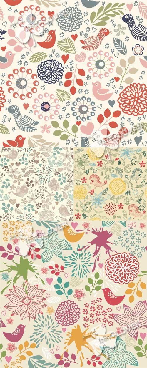 Vector Seamless floral pattern with birds