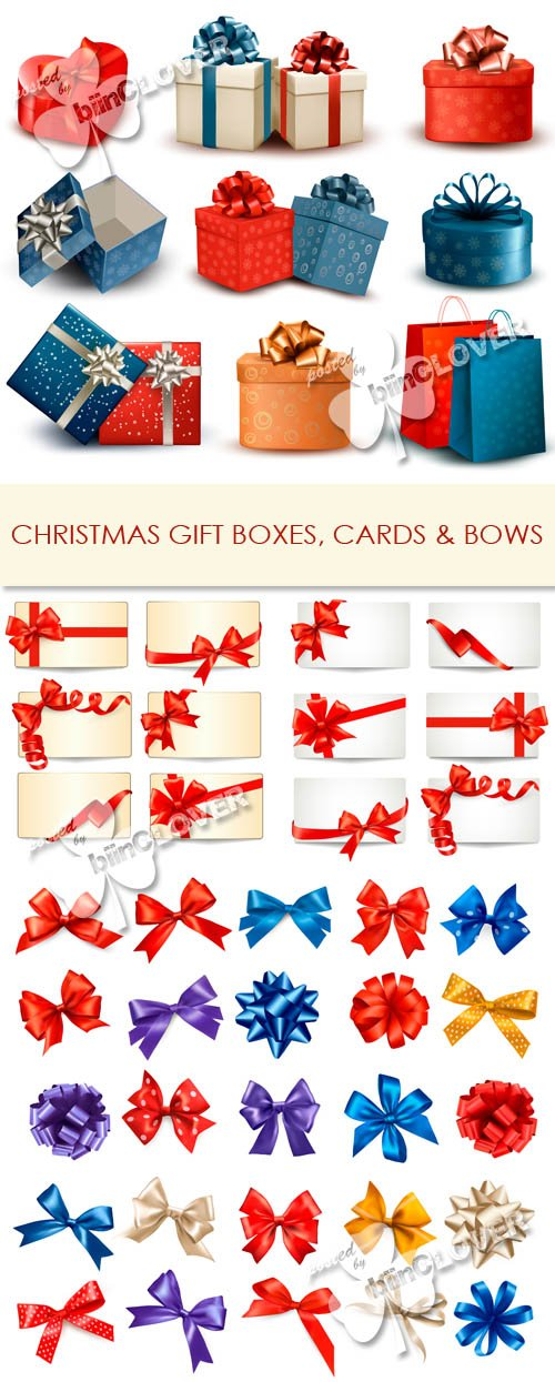 Vector Christmas gift boxes, cards and bows