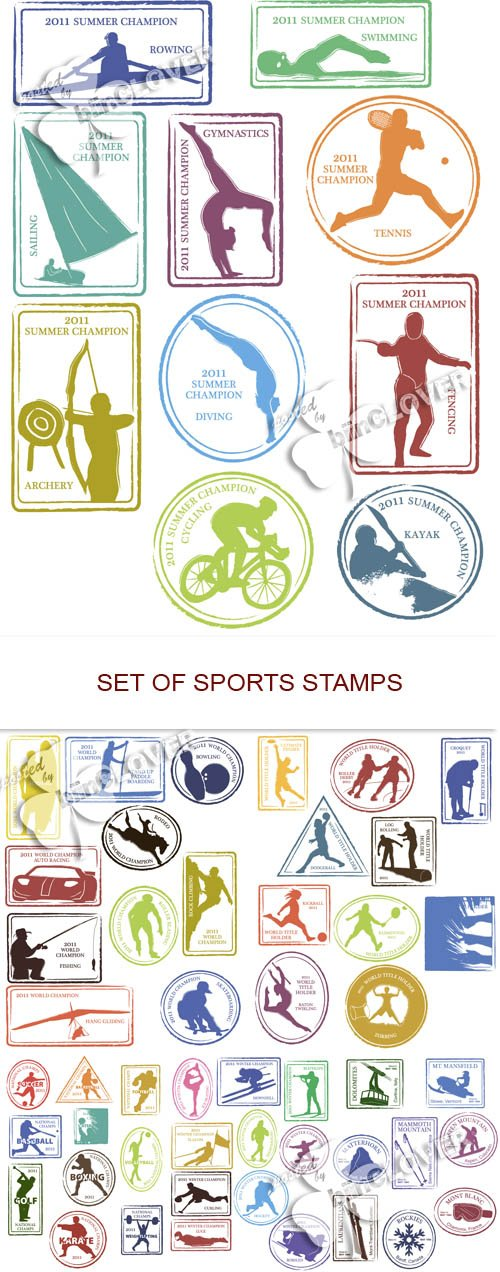 Vector Set of sports stamps
