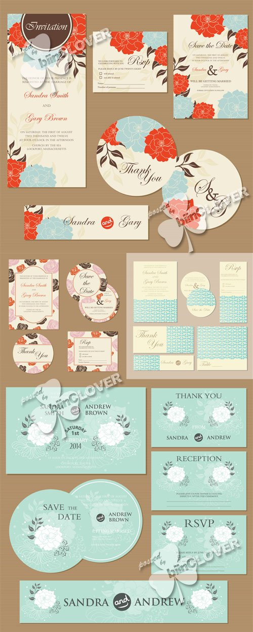 Vector Floral wedding invitation cards