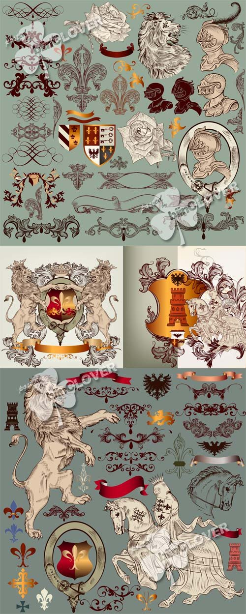 Vector Heraldic design elements
