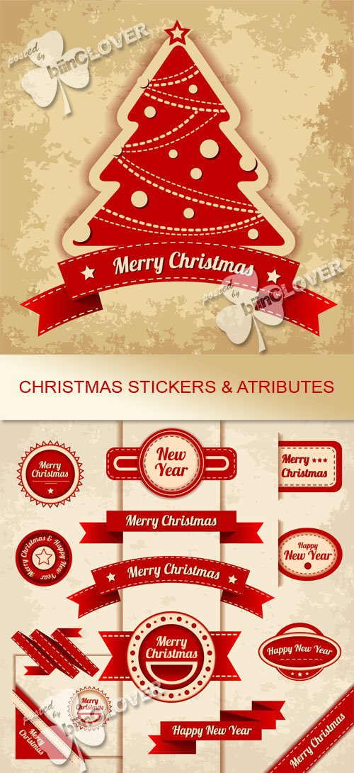 Vector Christmas stickers and attributes