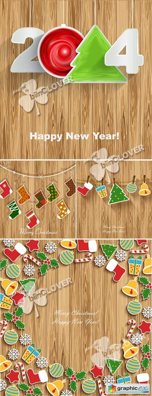 Vector New Year 2014 on wood background