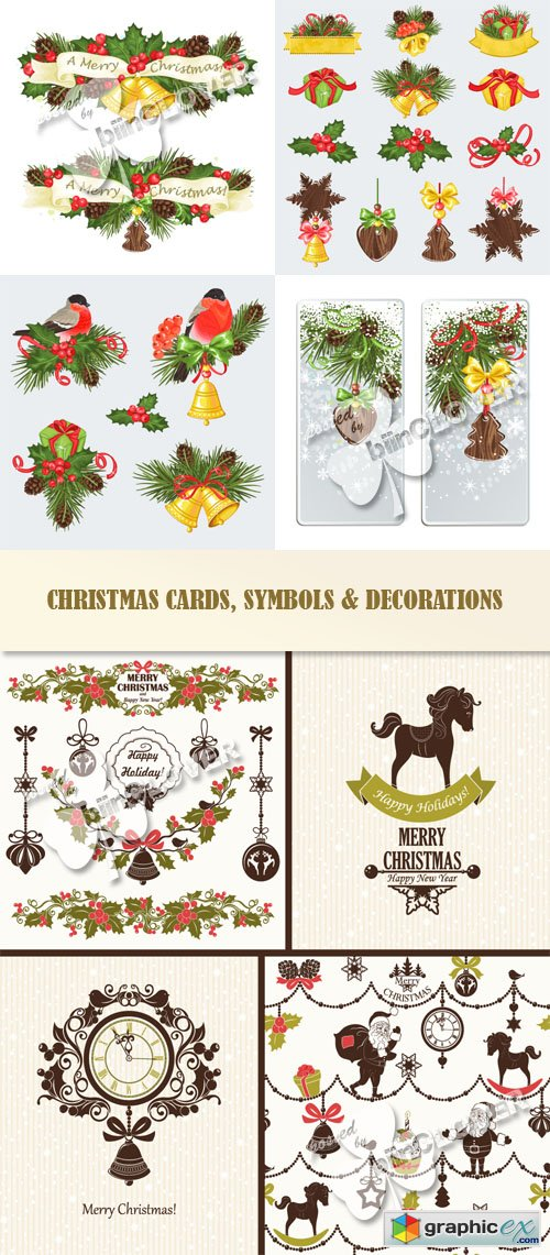 Vector Christmas cards, symbols and decorations