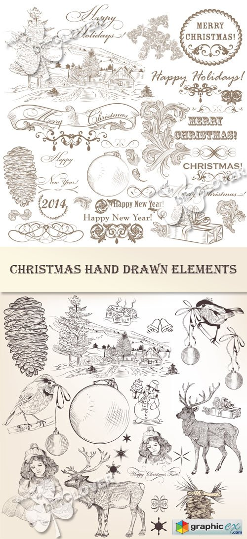 Vector Christmas hand drawn elements