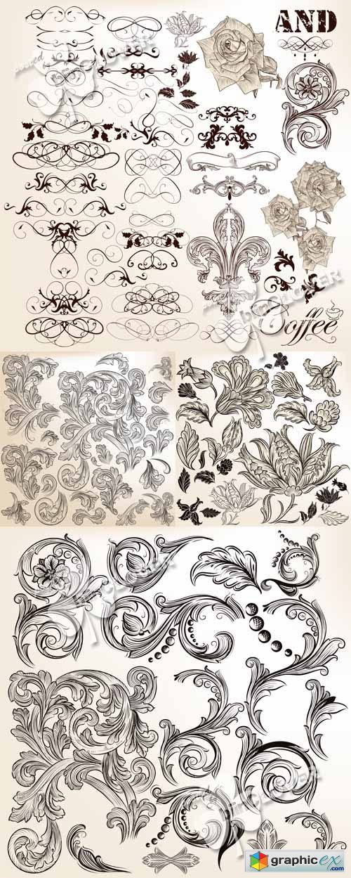 Vector Floral vintage calligraphic design elements