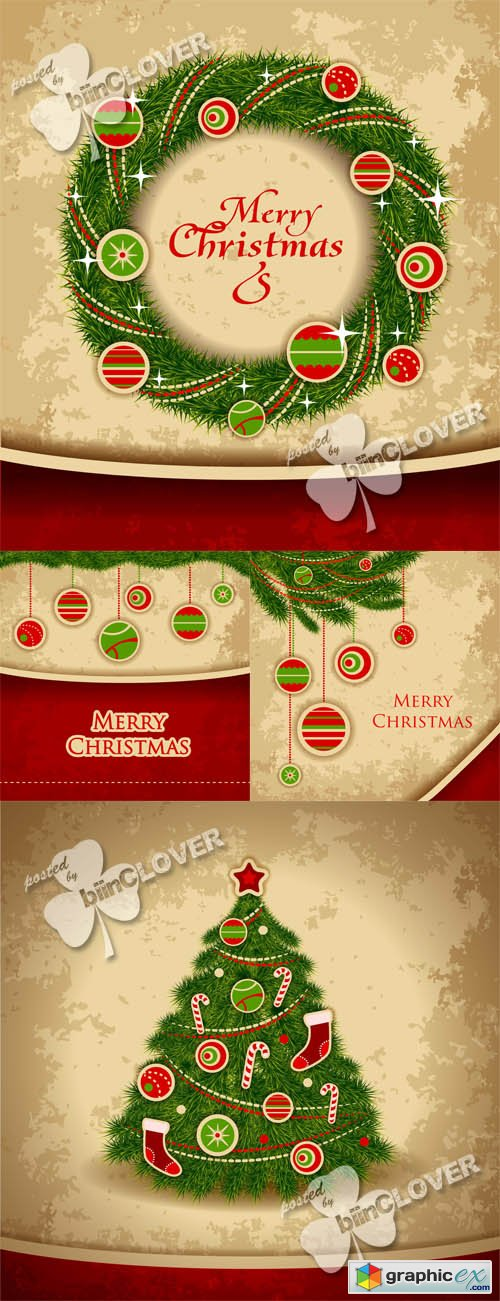Vector Christmas vintage card