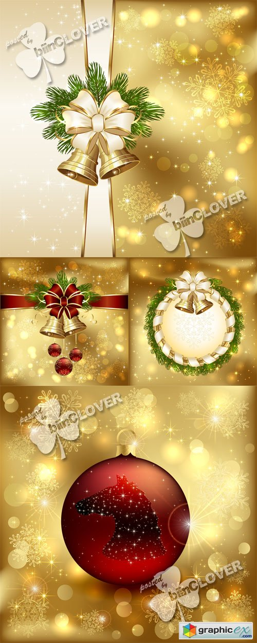 Vector Christmas card with bells 0532