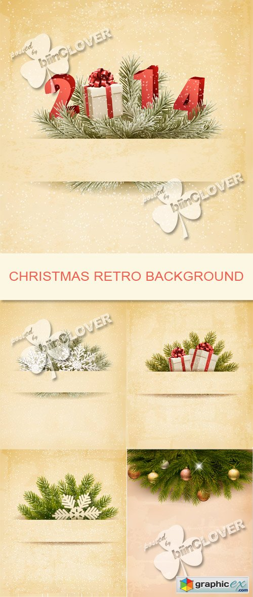 Vector Christmas retro background 0530