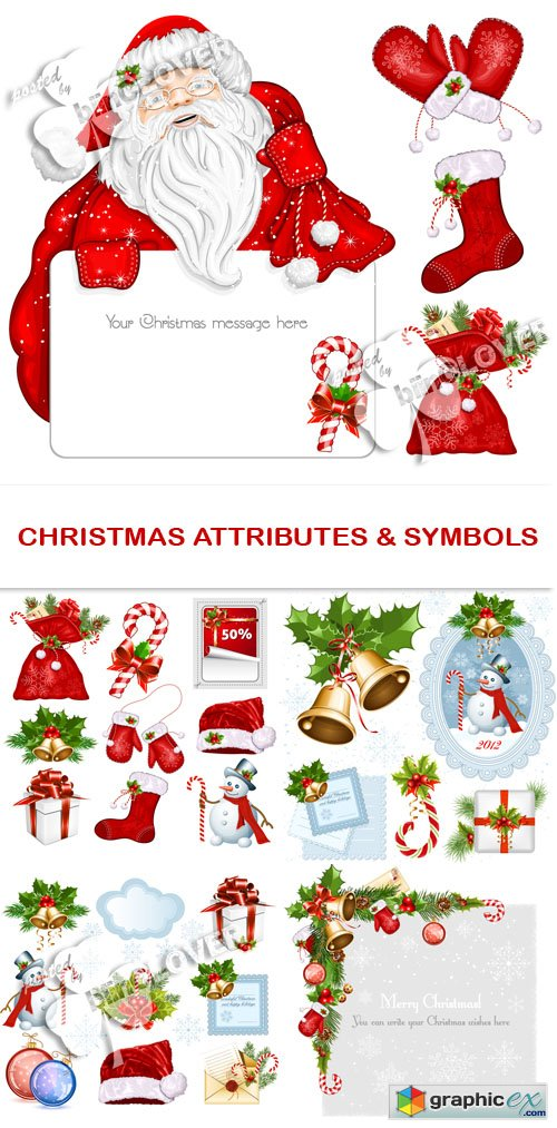 Vector Christmas attributes and symbols 0530