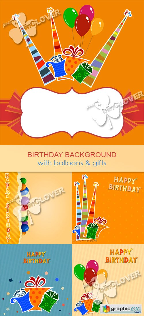 Vector Birthday background with balloons and gifts 0530