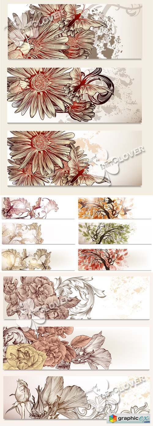 Vector Banners with floral elements 0529