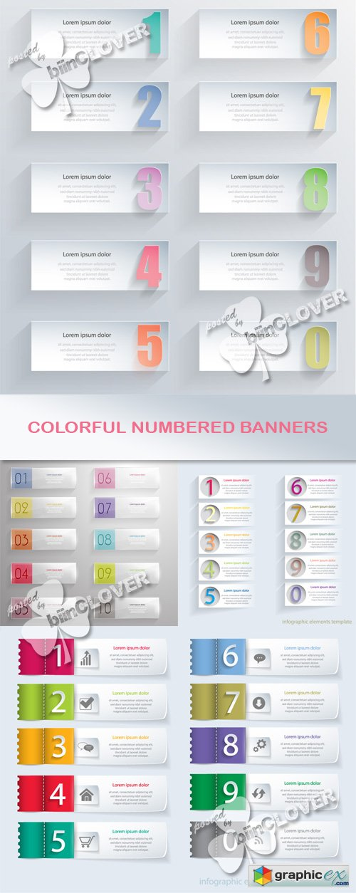 Vector Colorful numbered banners 0527