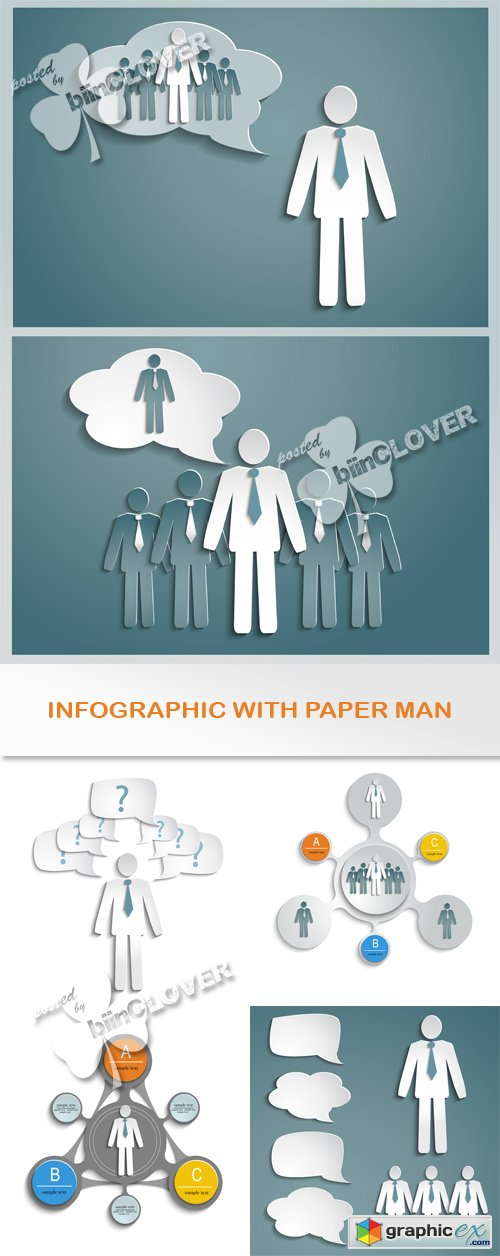 Vector Infographic with paper man 0527