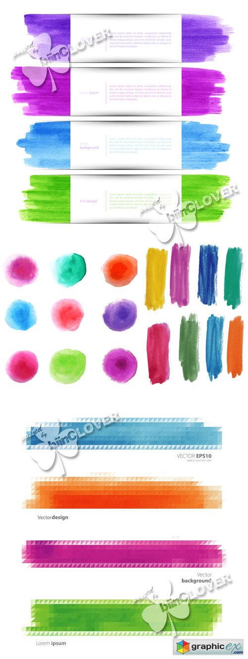 Vector Watercolor banners set 0527