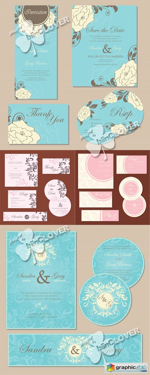 Vector Wedding invitation cards 0526