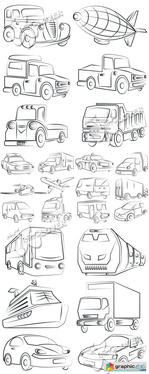 Vector Sketch of transportation 0525