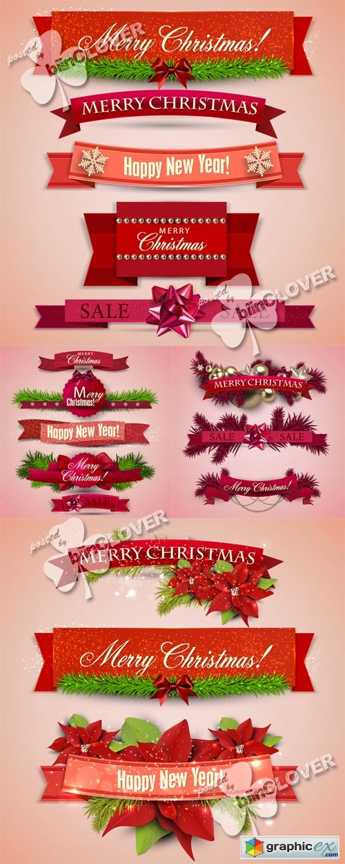 Vector Christmas set of ribbons, labels and tags 0525
