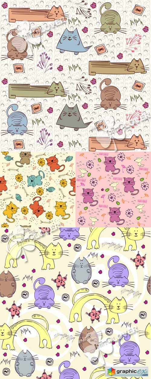 Vector Background with cats 0525