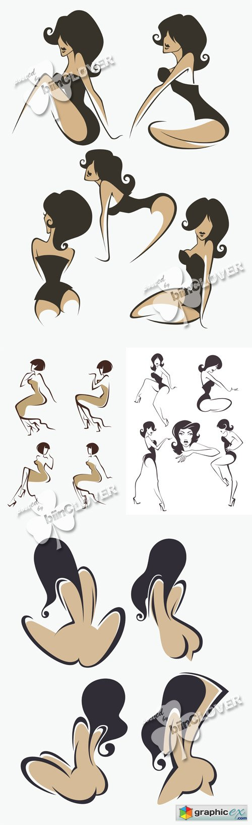 Vector �ollection of girls silhouettes 0523