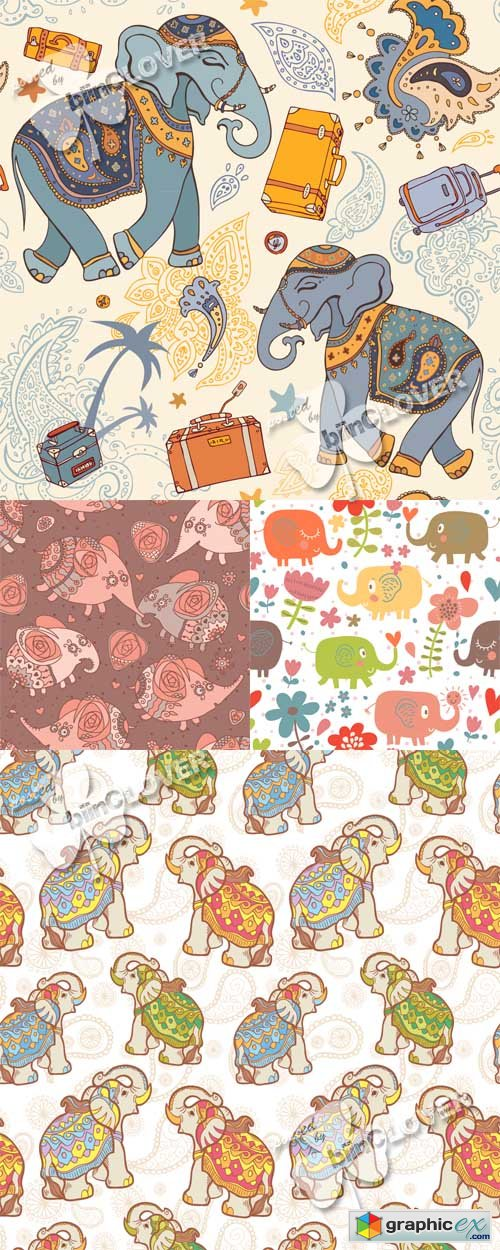 Vector Seamless pattern with elephants 0523