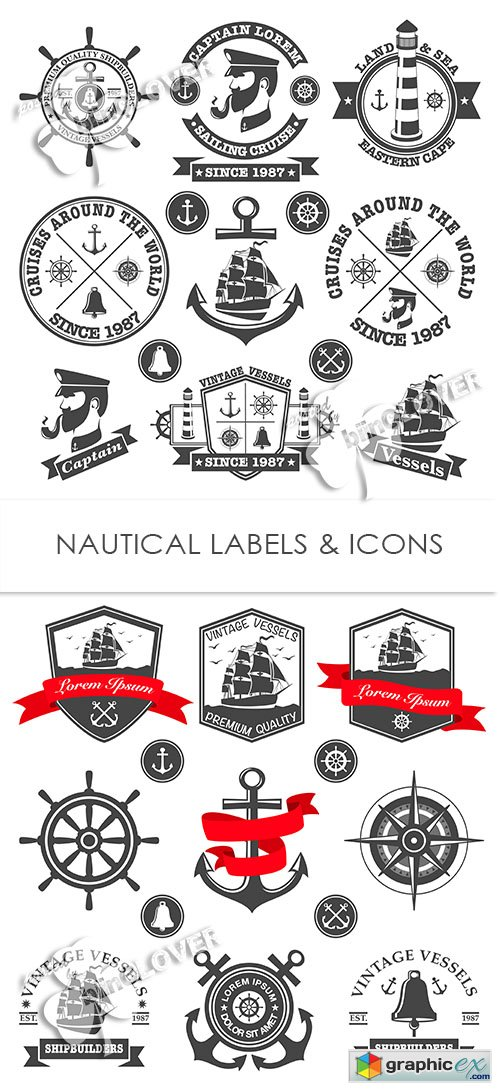 Vector Nautical labels and icons 0520