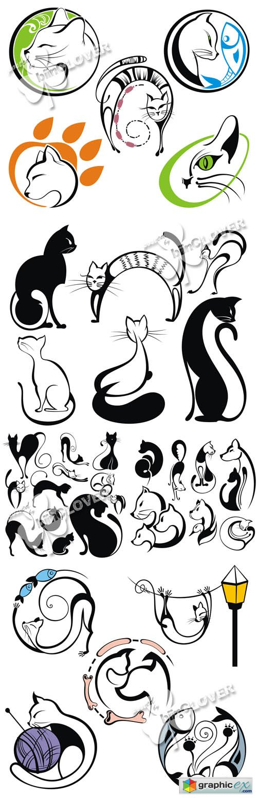 Vector Cats silhouettes 0522