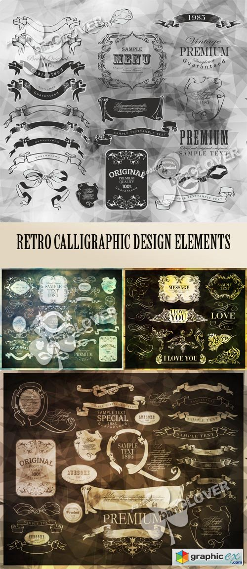 Vector Retro calligraphic design elements 0545