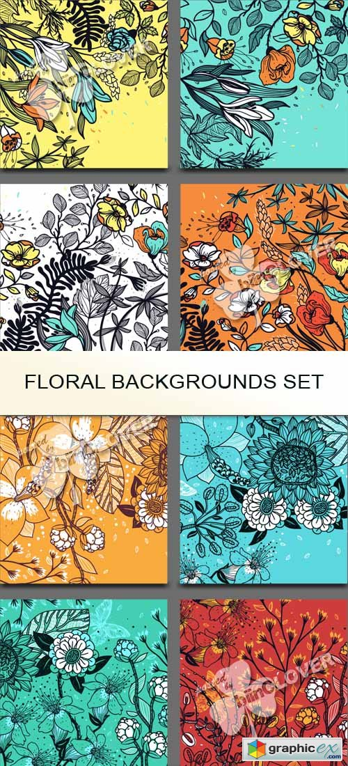 Vector Floral backgrounds set 0545