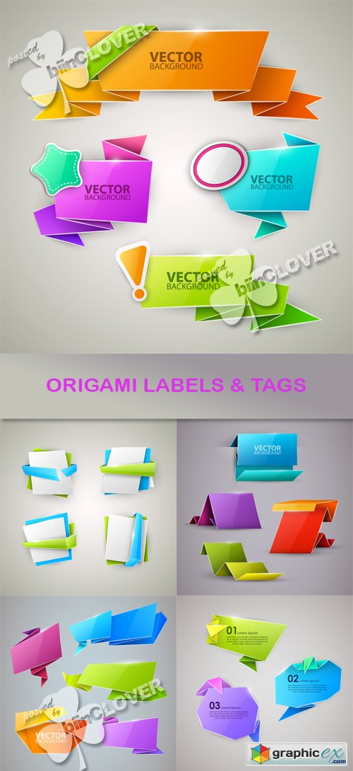 Vector Origami labels and tags 0522