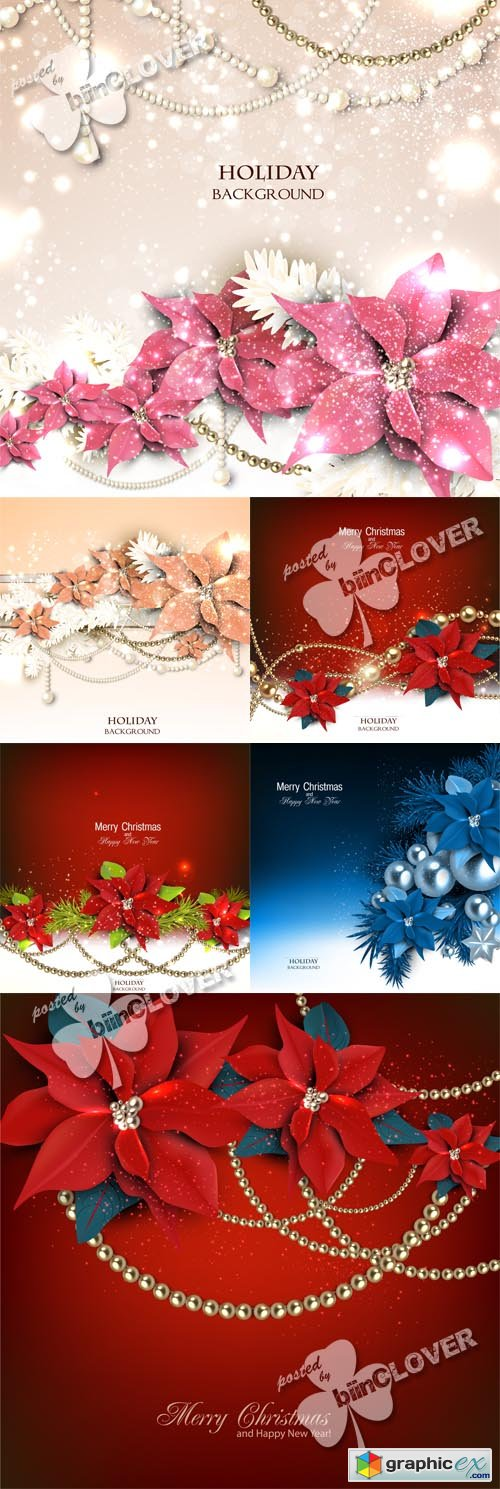 Vector Christmas background with floral garland 0521