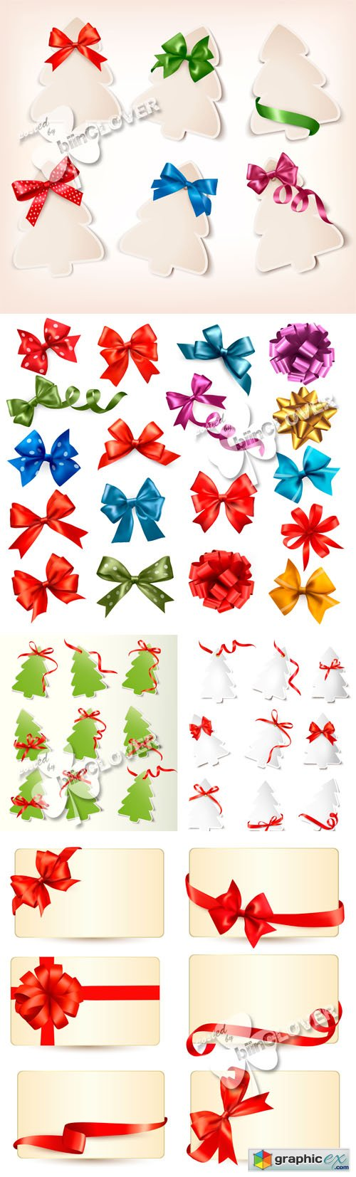 Vector Christmas gift cards with ribbons and bows 0521