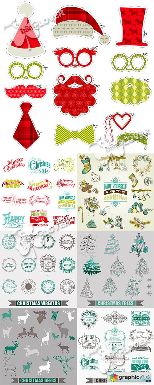 Vector Christmas card and design elements 0520