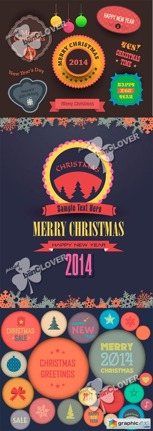 Vector Christmas badges, labels and tags 0520