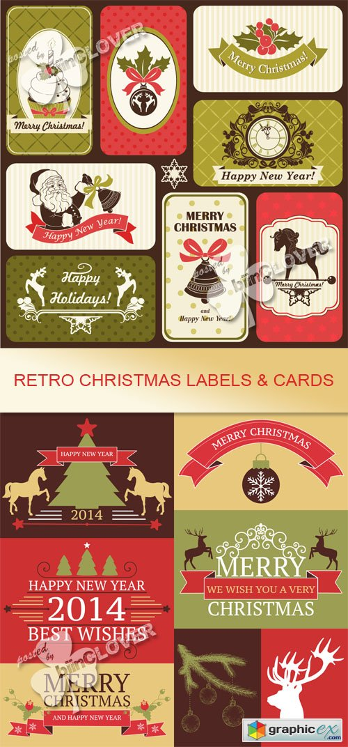 Vector Retro Christmas  labels and cards 0545