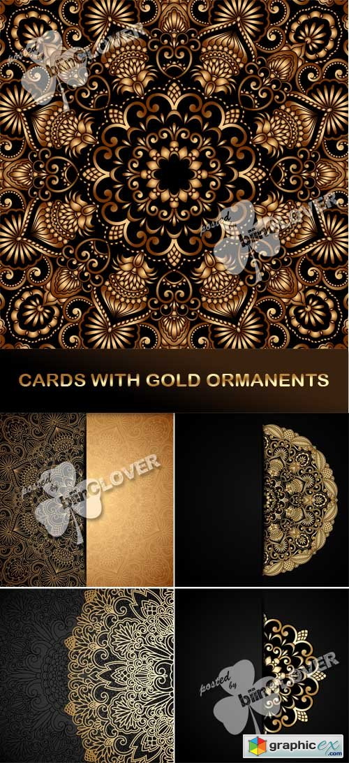 Vector Cards with gold ornament 0545