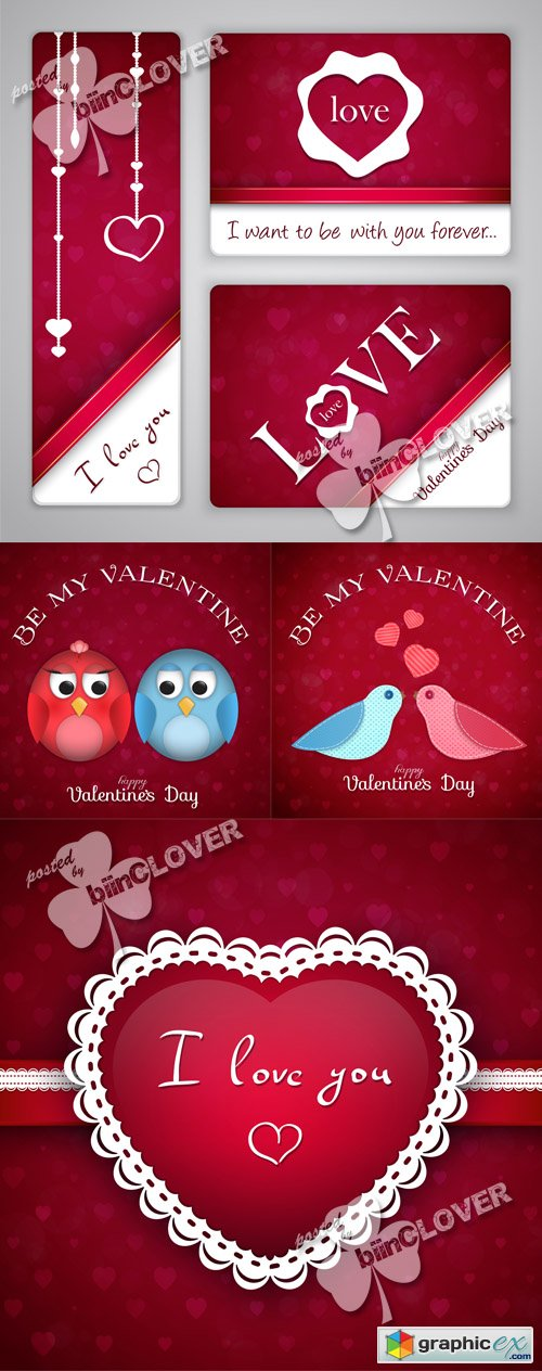 Vector Valentine's Day cards 0545