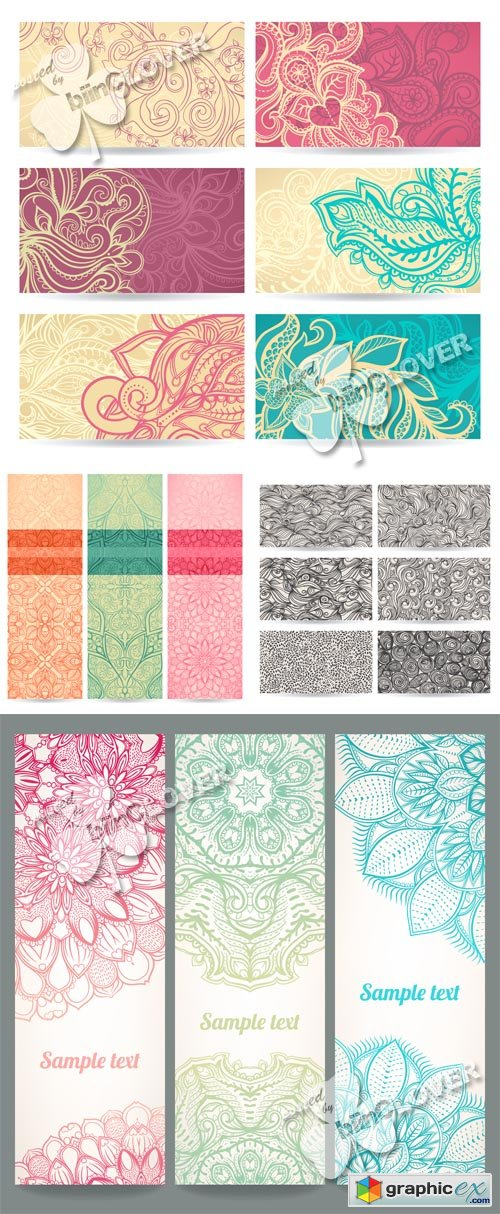 Vector Set of floral abstract banners 0519
