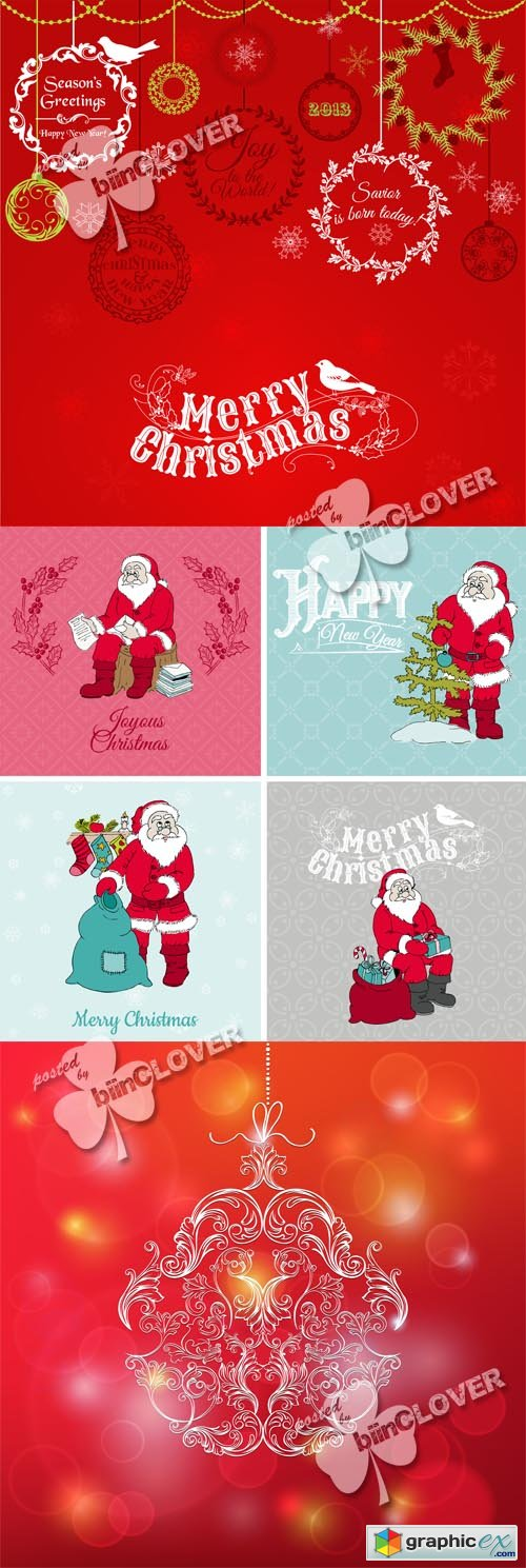 Vector Vintage Christmas Card 0519