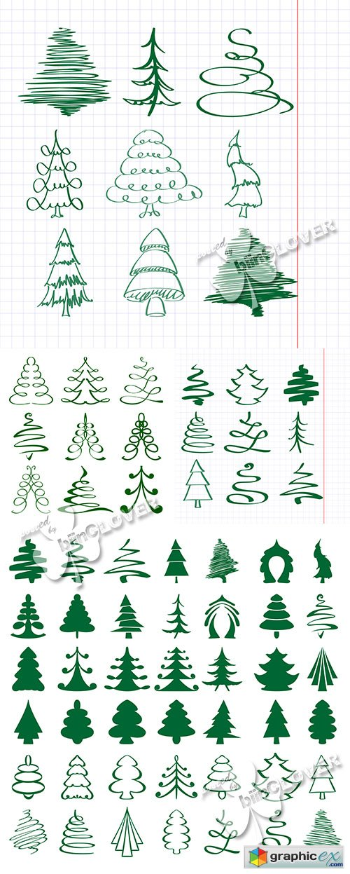 Vector Christmas trees sketch 0518