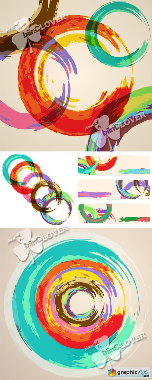 Vector Watercolor abstract background with circles 0518