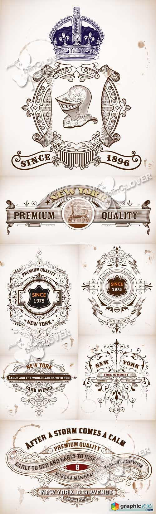 Vector Retro design elements 0517