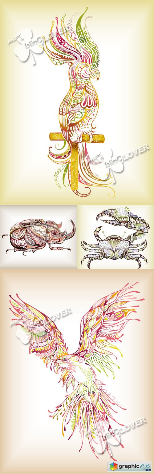 Vector Decorative crab,  beetle and parrot 0517